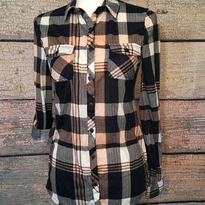 Passport Button Down Plaid Top Size S